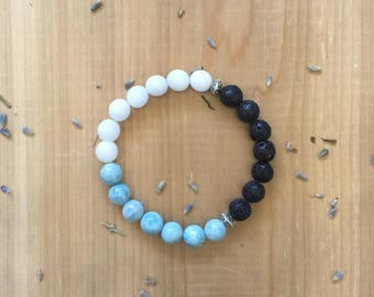 Essential Oil Diffuser Bracelet, Black Lava Beads, Larimar Beads, White Agate Beads, Silver Spacer Beads