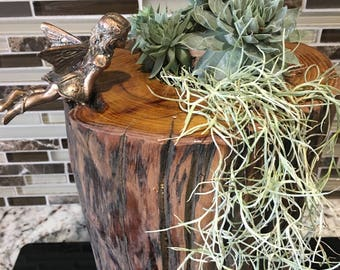 Wood post succulent vases