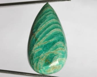 AAAA+ Grade Natural Amazonite Cabochon For Jewelry Making, Size 32X17X7 MM, Loose Semi Precious, Pear Shape, Designer Pendant Gemstone, 4886