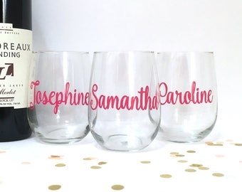 Personalized Wine Glass - Pink Bridesmaid Gift - Custom Wine Glass - Maid of Honor Matron of Honor - Hostess Gift - CHOOSE YOUR COLOR