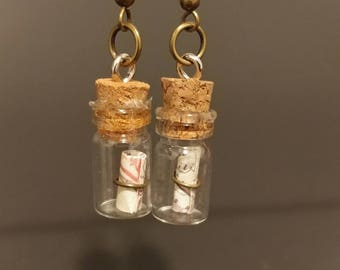 Tiny Map in a Bottle earrings