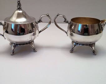 Silver Plate Sugar and Creamer - Vintage Unmarked