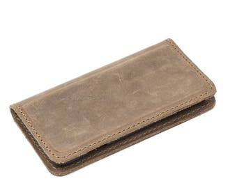 Distressed Leather iPhone Wallet, Leather iPhone Case, Phone Wallet, Magnetic iPhone Case - McLean Sand Brown