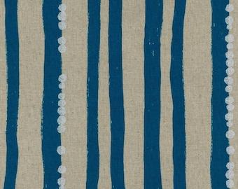 Japanese Cotton Linen Fabric - Kokka Echino 2018 Stripe in Blue - Light Weight Metallic Canvas Fabric - Half Yard (about 50cm) Pre Cut