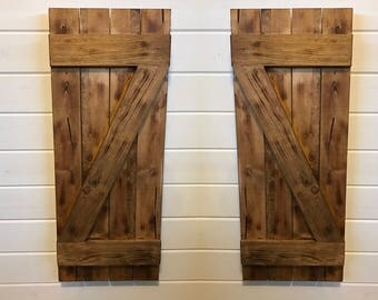 Barn Door Style Rustic Decorative Wood Shutters, Interior Wood Shutters, Reclaimed Wood Shutters, Barn Wood Shutters
