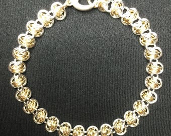Sterling Silver and Gold Double Vision Weave Chainmaille Bracelet 4th of July Special Offer