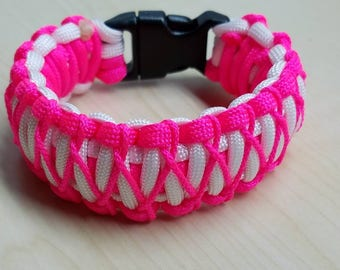 Neon pink & white stitched paracord bracelet with buckle, king cobra bracelet, pink bracelet, survival paracord, neon jewelry, gift for her
