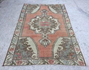 Orange Rug,Anatolia Rugs,area Rugs,PastelColor,Wool Rugs,Vintage Handwoven