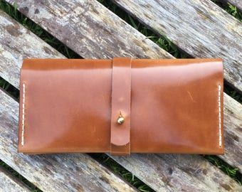 Long folding wallet - Wickett and Craig harness leather