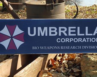 "Distressed Primitive Wood Sign - Resident Evil Umbrella Corporation sign  7.25"" x 24"""
