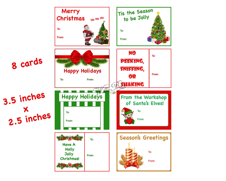 Christmas Name Tags: Christmas Gift Tags Season's Greetings Xmas Name Tag