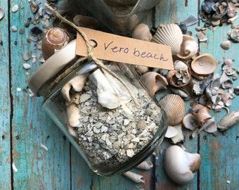 Beach in a Jar, Beach gift, Vero Beach, Gift jar, Beach Decor, Beach Theme Gift, Handmade Gift, Beach in a Bottle, Shells, Beach Sand