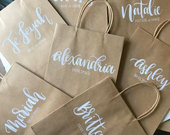 Custom Wedding Gift Bags, Personalized Gift Bags, Bridesmaids Gift, Maid of Honor Gift, Calligraphy Gift Bag, Hand Lettered Gift Bag