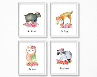 PRINTABLE Woodland Girl Nursery Art, Floral Woodland Animal Nursery Prints, Deer Bear Raccoon Owl Watercolor Woodland Set, Kind Wise Brave