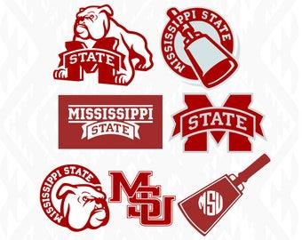 Mississippi State Designs; SVG, DXF, Ai, Eps, Pdf, Jpeg, Png
