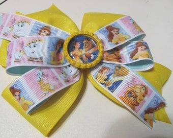 Disney Style Beauty and the Beast Stacked Ribbon Hair Bow 6 inch