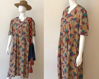Vintage 80s dress / vintage flower dress /  rayon dress / high waisted dress / button dress / 80s maxi dress / hippie dress / boho dress