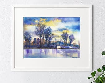 Original watercolor painting, Landscape painting,watercolor landscape,watercolor lake,handmade,abstract lake, colorful lake,house gift