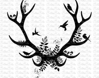 Floral antlers deer Svg hunter Eps Dxf Png vector file boho antlers clipart deer animals svg birds wild nature print design deer cut file