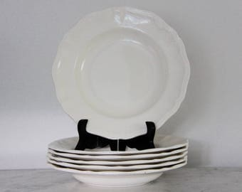 French Antique White Ironstone Plate, bowl, SET of 6, SARREGUEMINES, Shabby Chic Earthenware, stoneware