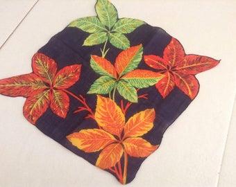 Vintage Handkerchief  / Autumn Leaves