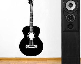 Guitar vinyl wall decal musical studio wall decor a116