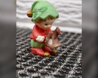 Vtg 1993 Avon Christmas Elf Figurine Painting a Rocking Horse