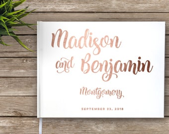Wedding Guest Book with Rose Gold Foil, Bold Font, Wedding Guest Book, Rose Foil and White, Wedding Journal, Real Foil, Guestbook