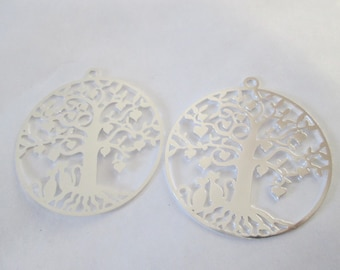 2 prints / charms round tree 34 mm stainless steel