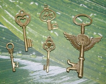 5 key charms bronze 3.4 7.5 cm # 1