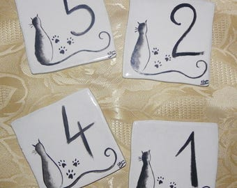 Pattern stoneware cat house number