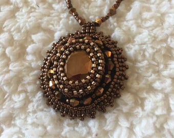 Copper bead embroidery necklace.  Copper necklace.