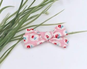 Baby Girl hand tied Bow - Nylon Headbands - Hair clip - Infant / Toddler /  Fabric Hair Bows / Clips - pink - vintage rose