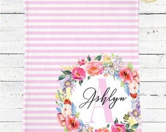 Personalized Monogram Baby Blanket / Baby Blanket With Monogram / Baby Blanket Girl Personalized / Watercolor Floral Baby Blanket / Minky