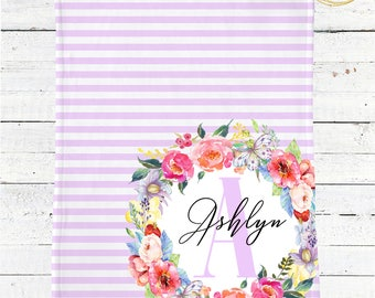 Lilac Baby Blanket / Personalized Monogram Baby Blanket / Monogram Floral Baby Blanket / Floral Baby Blanket / Lilac Baby Shower Gift Girl