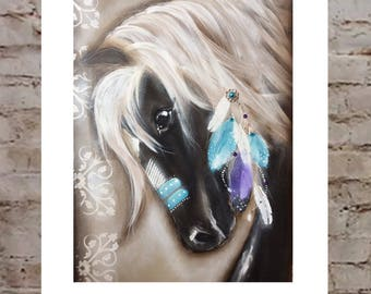 Postage included 1 horse painting ( horse B ) 900mm-600mm