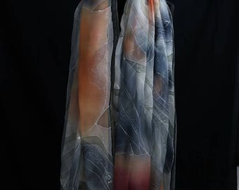 Copper-Beige 220x110 cm, finest chiffon silk, unique.