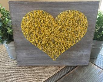 Yellow Heart String Art, Whitewashed, Wall Decor, Heart Wall Decor, Home Decor, Wood Heart
