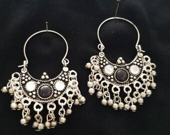 Hoop earrings Black earrings India Rajastani Etruscan Afghani earrings tribal earrings ethnic boho hippie gifts for her