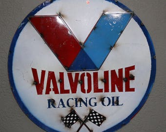 Metal VALVOLINE Motor Oil Racing Sign Garage Man Cave Recycled Game Room Tin