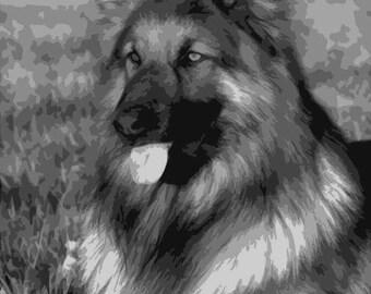 German Shepherd, Layered Papercut Portrait, Papercutting Portrait, Pet Portrait, Commercial Use, Personal Use