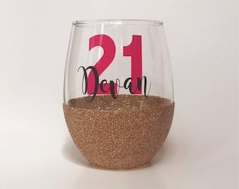 21st Birthday Wine Glass - Birthday Wine Glass - Glitter Wine Glass - 30th Birthday Wine Glass - 40th Birthday Wine Glass - Stemless Wine