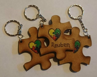 Autism Awareness - Chunky Wooden Jigsaw Keyring -Personalised