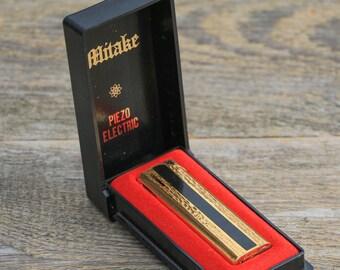 Gas lighter vintage Piezoelectric Cigarette lighter Gold toned lighter Mitake Antique lighter Steampunk decor lighter metal lighter case