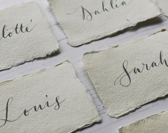 Modern calligraphy place cards / name cards on handmade paper