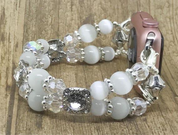 """Apple Watch Band, Women Bead Bracelet Watch Band, iWatch Strap, Apple Watch 38mm, Apple Watch 42mm, White Cat's Eye Beads Size 7 3/4"""" - 8"""""""