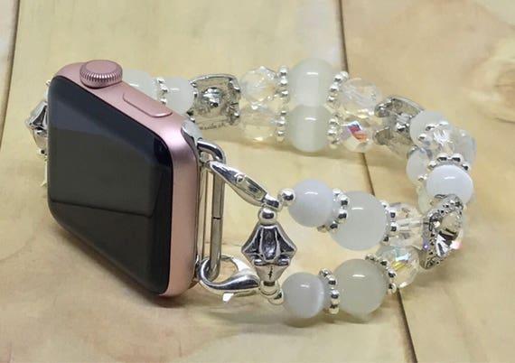 """Apple Watch Band, Women Bead Bracelet Watch Band, iWatch Strap, Apple Watch 38mm, Apple Watch 42mm, White Cat's Eye Size 7 3/4"""" - 8"""""""