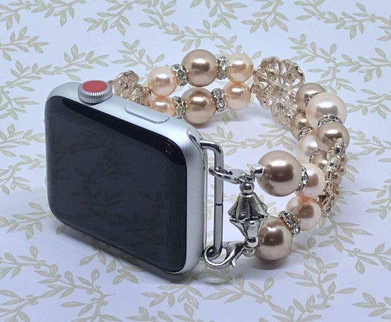 Apple Watch Band, Women Bead Bracelet Watch Band, iWatch Strap, Apple Watch 38mm, Apple Watch 42mm, Peach Bronze Swarovski Pearl 7 3/4 - 8""