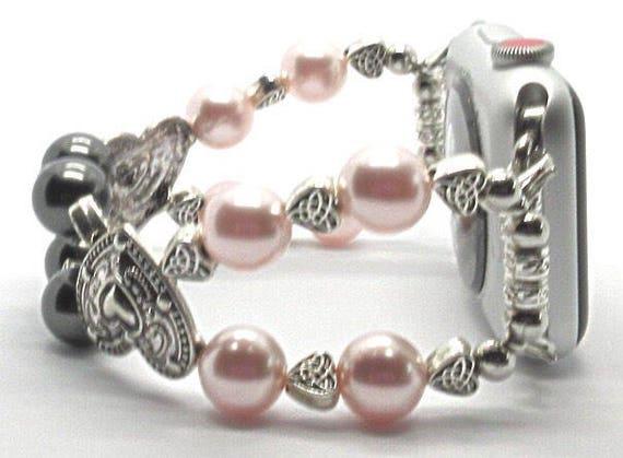 "Apple Watch Band, Women Bead Bracelet Watch Band, iWatch Strap, Apple Watch 38mm, 42mm, Silver Hearts Pink/Black Swarovski Pearl Size 7 1/4"""