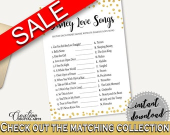 Disney Love Songs Game Bridal Shower Disney Love Songs Game Gold Confetti Bridal Shower Disney Love Songs Game Bridal Shower Gold CZXE5